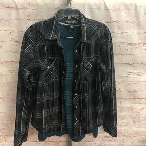 Fox brand snap front long sleeve shirt